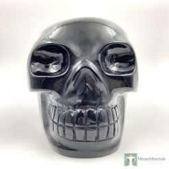 life-size black obsidian skull
